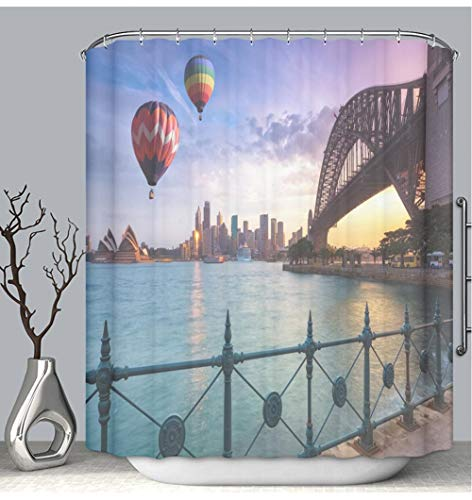 BEICICI Color Shower Curtain Liner Anti-Mildew Antibacterial Hot air Balloon Over Sydney Bay in Evening Sydney Australia Custom Shower Curtain Bathtub Bathroom Accessories 66W×72Linch (6042 Bathtub)