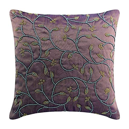 Handmade Purple Throw Pillows Cover for Couch, Beaded Leaves Garden Abstarct Pillows Cover, 16