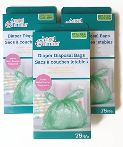 Angel of Mine Diaper Disposal Bags; Fresh Baby Powder Fragrance; 75 bags per pack (3 Pack) from Angel of Mine Diaper Disposal Bags