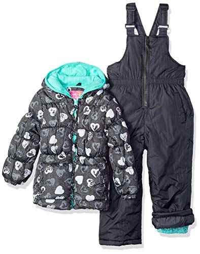 Pink Platinum Girls' Little Printed Super Snowsuit, Heart Black, - Super Snowsuit