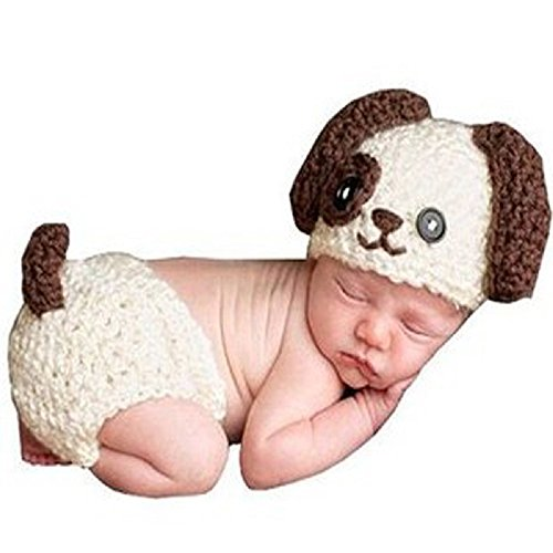 Newborn Baby Girl/Boy Crochet Knit Costume Photo Photography Prop Hats Outfits (Puppy)