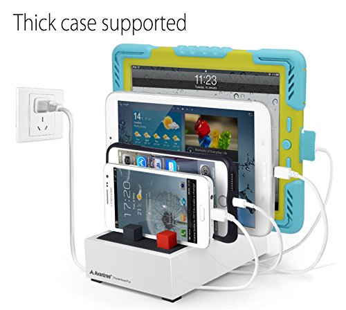 Avantree 4 Ports Desktop USB Charging Station for Multiple Devices with Cable Management, Thick Cases Supported, for iPhone, iPad