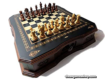 Luxury chess set, Wooden Sheesham chessmen, Handmade board with drawer