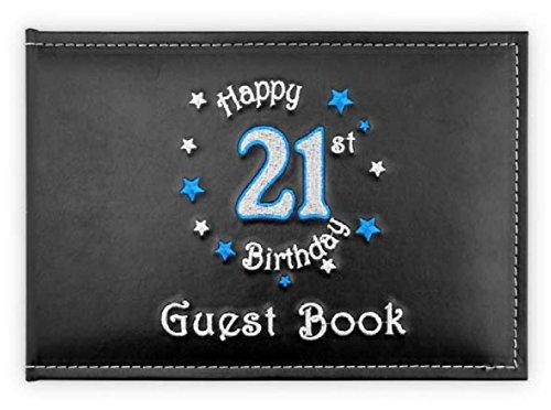 Happy 21st Birthday in Blue Guest Book OG690 Landmark