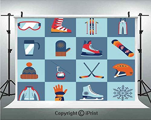 10' Gloves Satin (Kids Photography Backdrops Ice Skating Winter Sports Skiing Boot Cap Glasses Glove Helmet Skates Snowboard Print,Birthday Party Background Customized Microfiber Photo Studio Props,10x10ft,)