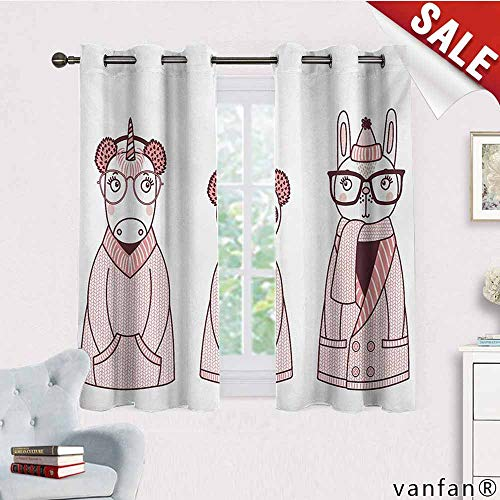 Price comparison product image Easy Care Privacy Protection Grommet Window Panels, Doodle, Hand Drawn Animals with Coats Earmuffs and Hats Cartoon Style Illustration, 2 Pieces, Pink and Eggplant, W55 Xl63