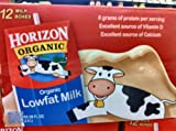 Horizon Organic 1% Lowfat Milk 8 Ounce. No Refrigeration Needed. Pack of 12.