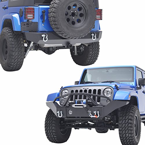 E-Autogrilles 07-17 Jeep Wrangler JK Full Width Front Bumper with OE Fog Light Holes and Rear Bumper with 2'' Hitch Receiver (2' Front Receiver Hitch)