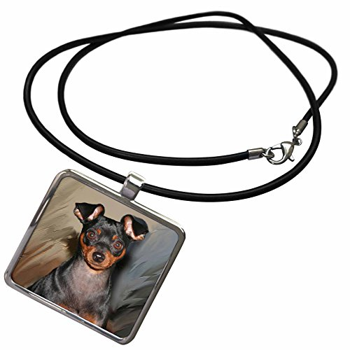 3dRose Dogs Miniature Pinscher - Miniature Pinscher - Necklace with Rectangle Pendant (ncl_4555_1)