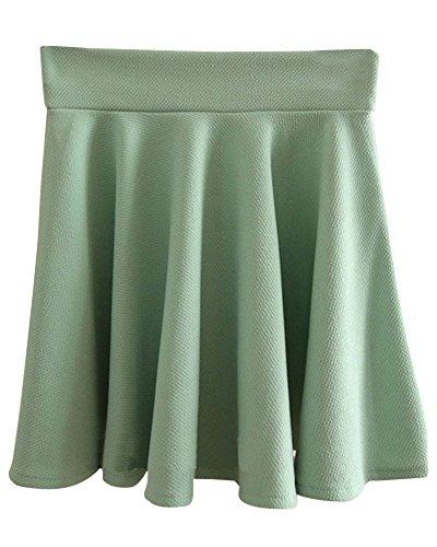 SaiDeng Mujer Cintura Alta Dobladillo Grande Ajuste Delgado Minifalda Azul Verde