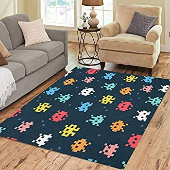Amazon Com Pinbeam Area Rug 80s 8 Bit Pixel Retro Arcade
