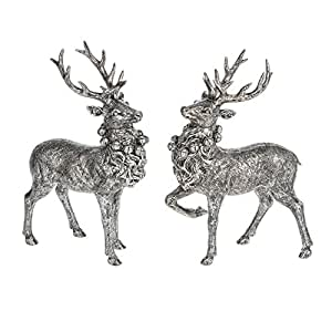 Standing Deer Antique Silvertone 6.5 x 9.5 Inch Resin Tabletop Figurines Set of 2