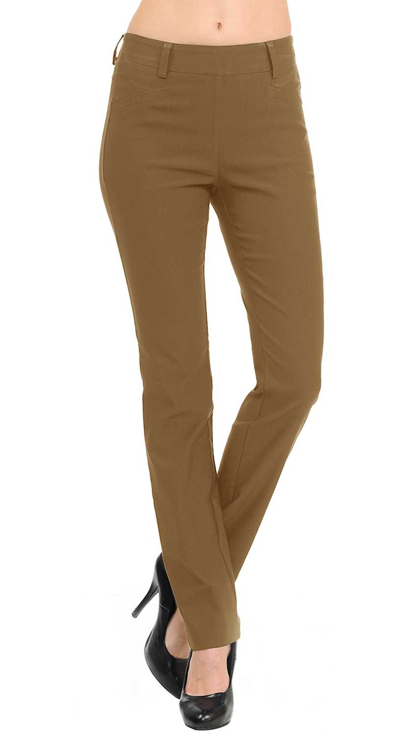 VIV Collection New Straight Fit Long Trouser Pants (Large - 30'' Inseam, Mocha)