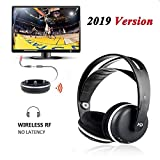 Wireless Universal TV Headphones, Monodeal Over-Ear Stereo RF Headphones with Charging Dock, Low Latency Volume Adjustable for Gaming TV PC Mobile, 25hr Battery Sound