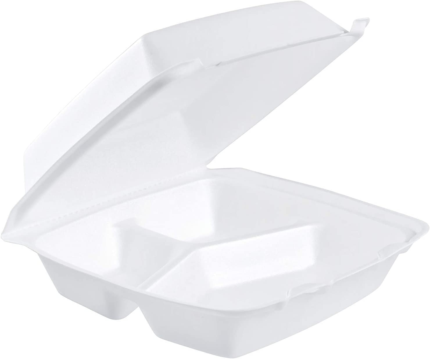 Dart 85HT3R, 8x8x3-Inch Performer White Three Compartment Foam Container With A Removable Hinged Lid, Carryout Food Disposable Containers (50)