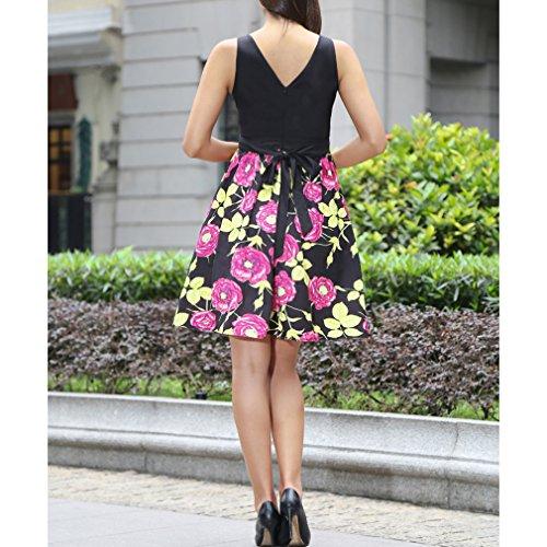 Honghu Vestido Sin Mangas De Las Mujeres De Cintura por la rodilla Vestido De Impresión Verano Rojo