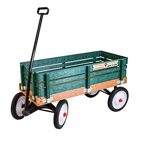 Radio Flyer classic green EARTH WAGON utility cart for kids, shopping, groceries, gardening | Eco-friendly recycled plastic sides & bed - No Wood - 10