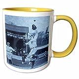 3dRose Scenes from the Past Magic Lantern Slides - Vintage Detroit Tigers Making the Catch Black and Selenium - 11oz Two-Tone Yellow Mug (mug_16245_8)