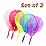 Kids Butterfly and Bug Net Set of 2 Telescopic Catching Net for Butterflies Insects Bugs Small Fish, Extendable and Anti Slip Grip