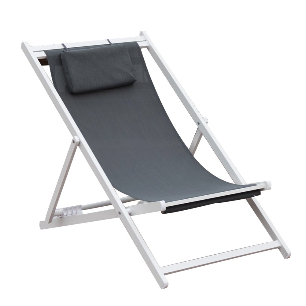 PatioPost Outdoor Portable Patio Beach Folding Adjustable Sling Chair with Headrest,Grey by PatioPost
