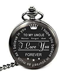 Gifts for Uncle from Nephew Niece Unique Gifts for Men Engraved Pocket Watch with Chain (to Uncle)