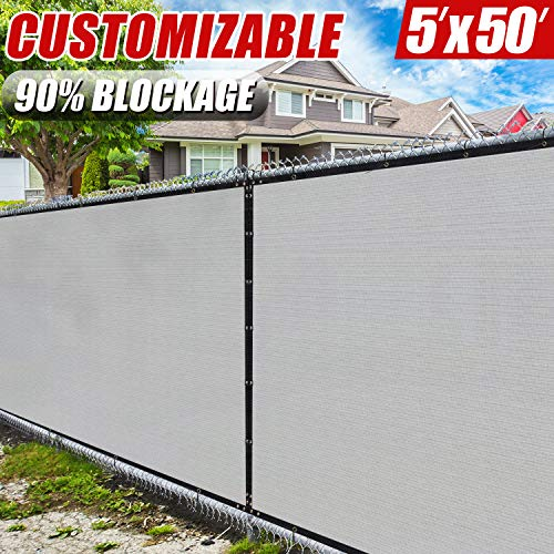 Amgo 5' x 50' Grey Fence Privacy Screen Windscreen,with Bindings & Grommets, Heavy Duty for Commercial and Residential, 90% Blockage, Cable Zip Ties Included, (Available for Custom Sizes)