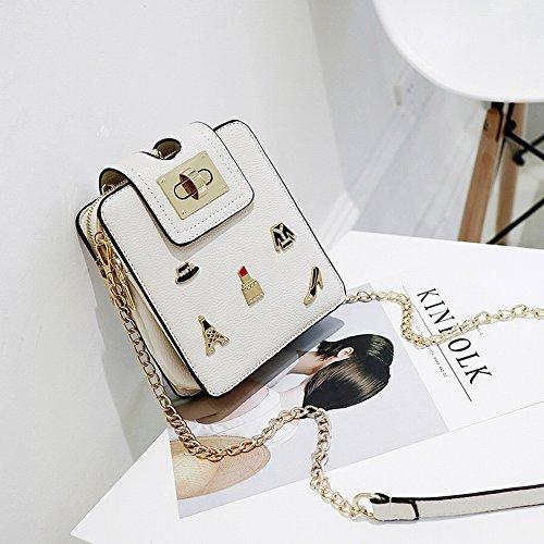 Weibliche Tasche Retro Abzeichen Mini Kleine Quadratische Paket Kette Paket Handy Schulter Umhängetasche , Rosa