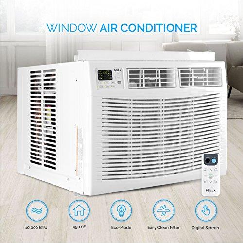 DELLA 10,000 BTU Window Air Conditioner Room Up to 450 Sq Feet 115V Energy Star Mini Compact w/Remote Control, White