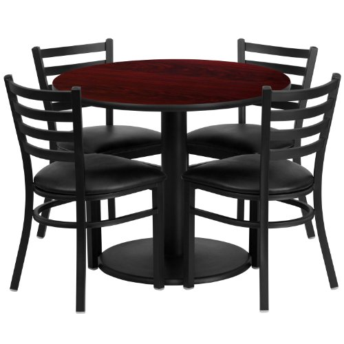 "Flash Furniture 36"" Round Mahogany Laminate Table Set with 4 Ladder Back Metal Chairs with Black Vinyl Seat"