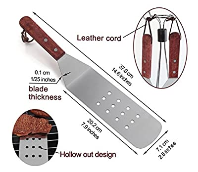 grilljoy Birthday Gift with Wrapping Box for Man - 8PCS Professional BBQ Griddle Accessories Kit with Riveted Wooden Handle - Stainless Steel Griddle Tool Set for Flat Top Cooking