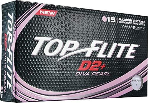 Top-Flite D2+ Diva Golf Balls (15 Pack, White) by Top Flight