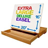 "U.S. Art Supply ""Super Solana"" Extra Large 20"" Wide Adjustable Wood Desktop Easel with Large 2"" Tall 16"" Deep Drawer"