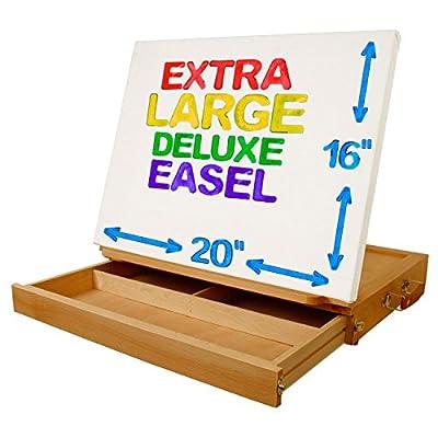U.S. Art Supply Solana Adjustable Wood Desk Table Easel with Storage Drawer, Premium Beechwood