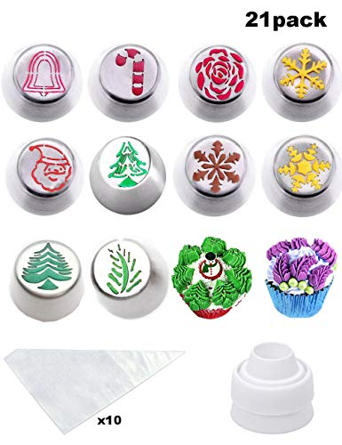 Cofe-BY Russian Piping Tips set for Cake Decoration - 21pcs Cake Nozzles set, Christmas Cupcake Decorations Frosting Icing Tips Baking Kits 10 Christmas Nozzles-1 Coupler -10 Disposable Pastry Bags (Russian Cookies Christmas)