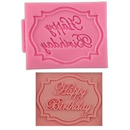 Feliz cumpleaños silicona Molde Fondant Azúcar Craft ...