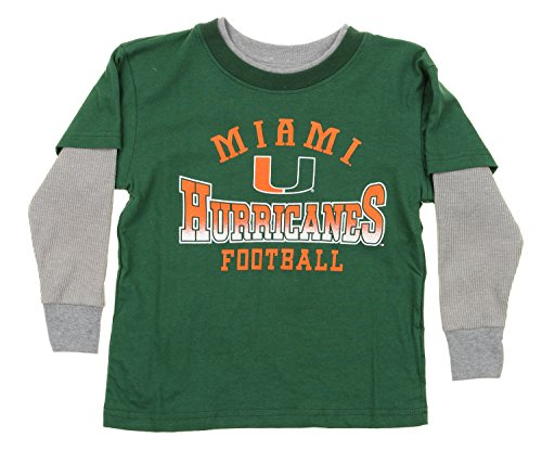- OuterStuff NCAA Miami Hurricans Little Boys Kids Long Sleeve Tee, Green