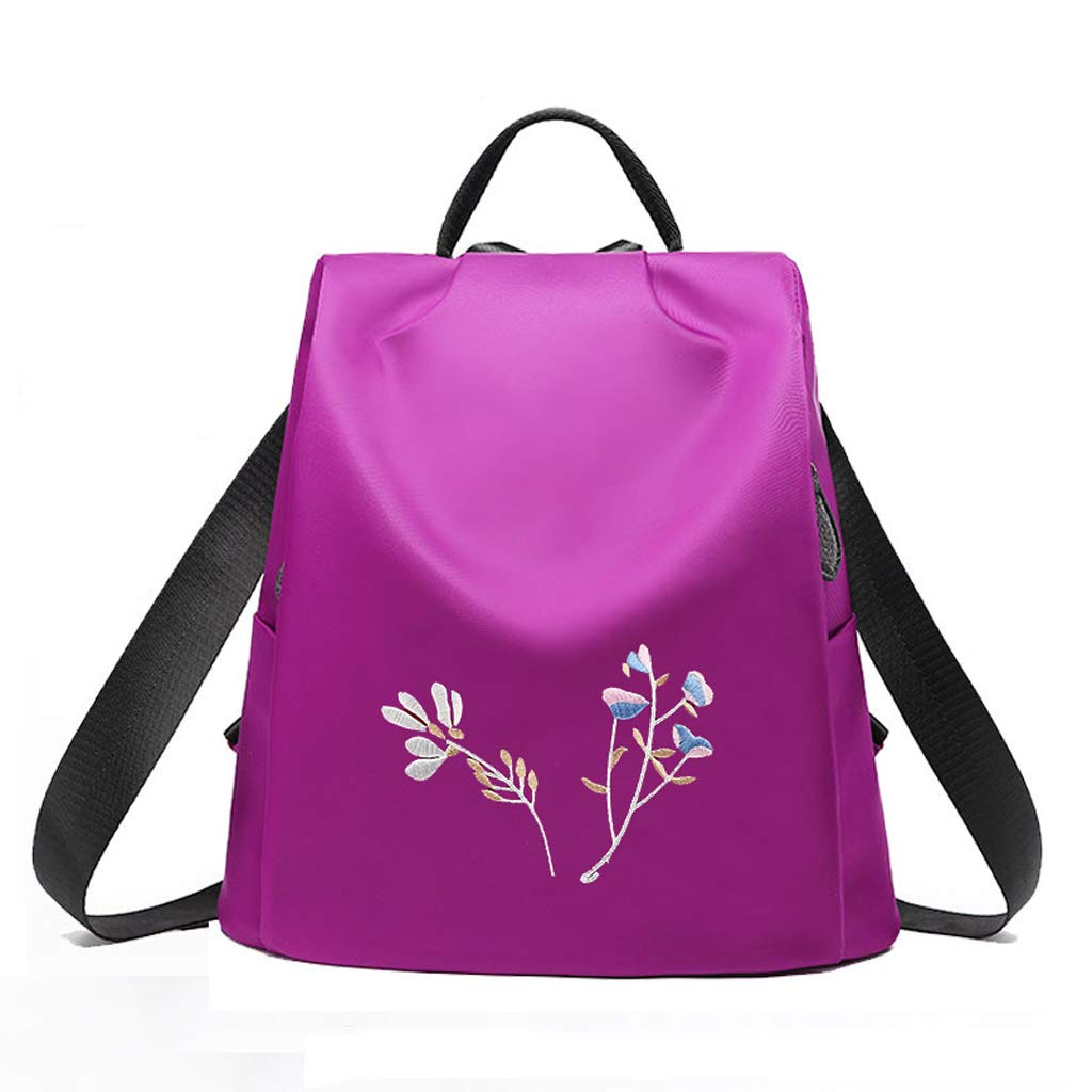 C&S CS Oxford-Tuch-Schulter-Beutel-Dame Student Bag Fashion Einfache Blumen Gesticktes Reise-Rucksack-Leichtgewichtler
