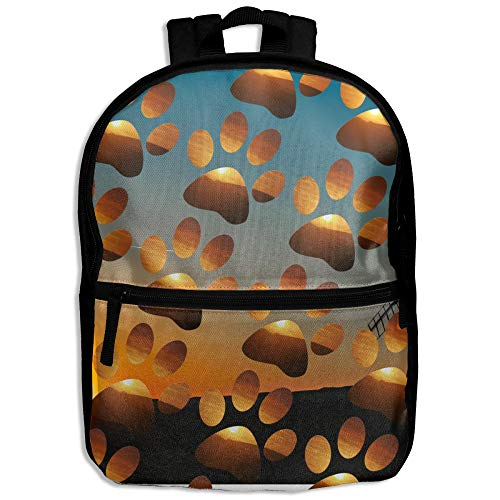 African Sunset Footprint Pet Love Boys Girls Character Casual School Backpacks Bookbag ()