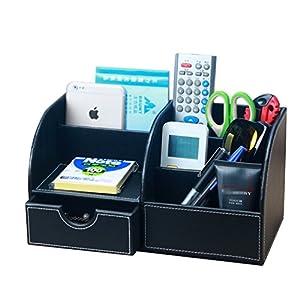 Yiuswoy Creative Leather Desk Caddy Organizer,Desktop Stationery Storage  Box,Office Supplies,Desk Caddy Organizer Pen/Phone/Remote Control Holder  Collection ...