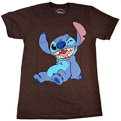 (Disney Lilo and Stitch Winky Wink Adult T-Shirt (Medium, Heather)