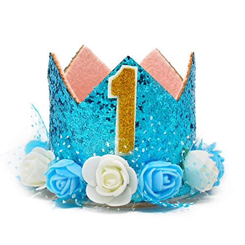 MOO&NOO Dog Birthday Hat for Boys Happy Birthday Tiara Crown with Rose Flowers and Gold Glitter 0-9 Figures for Party -