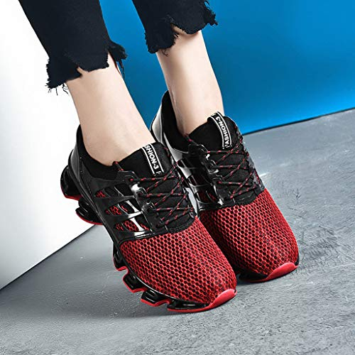 Lloopyting Couples Solid Color Casual Mesh Breathable Wear Running Shoes Outdoor Fashion Wild Mesh Sneakers Red by Lloopyting (Image #2)