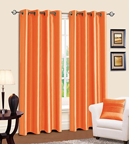 LuxuryDiscounts 2 Piece Solid Neon Orange Faux Silk Grommet Window Curtain Treatment Panel Drapes 55
