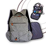 Stylish Large Diaper Bag Backpack - Ultimate Multifunction Baby Bags for Mom or Dad Professionals -18 Spaces, 4 Insulated Pockets, Changing Pad, Waterproof Nappy Pouch, Stroller Straps, Ipad Storage
