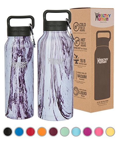 Healthy Human Insulated Water Bottle - Double Walled Sports Vacuum Thermos Wide...