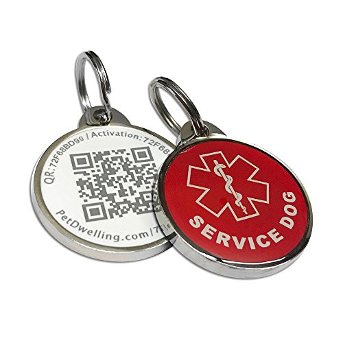 Pet Dwelling Advanced Service Dog Red QR Code ID Tag Links to Free Online Profile w/Photo ID/Medical Info/Scanned GPS Location