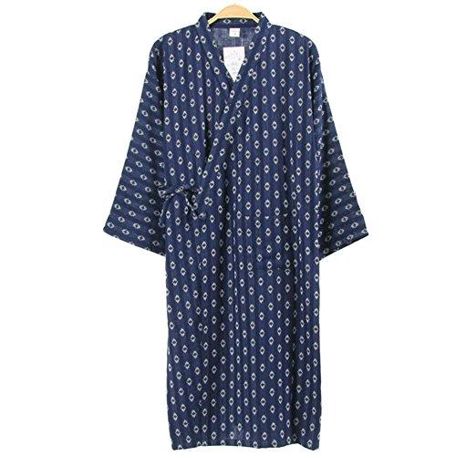 Men's Japanese Style Robes Pure Cotton Kimono Robe Bathrobe Pajamas #03 ()