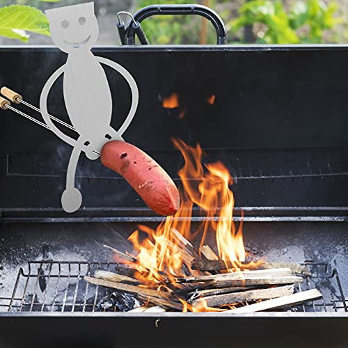 Wanju Portable Hot Dog Stand Roasters Shaped Stainless Steel Camp Fire Roasting Stick Stainless Steel Oven Grill Rack Turkey Barbecue Stand for Indoor Outdoor Camping Picnic Garden Party(L)