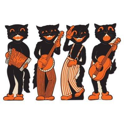 Beistle 4-Pack Scat Cat Band Cutouts, (Vintage Halloween Cutouts)