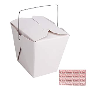 50 Pack (16 oz 1 Pint) Chinese Take Out Food Boxes with Metal Wire Handle & 4 Pack(64 Pcs) Labels, Paper Take Out Food Containers for Hot Or Cold Food by ZMYBCPACK